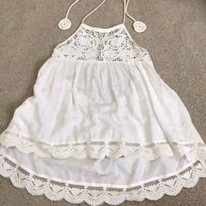 Tie up Halter high low white lace tank top